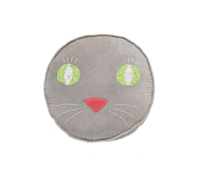 [ABODE] PUSS GREY KIDS VELVET NOVELTY CUSHION